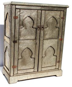 "Berrekkal armoire $1800 hammered metal 51"" tall x 41""wide x 18"" deep for television and office supplies"