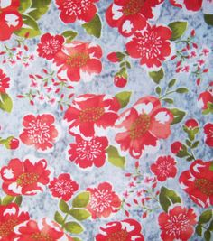 Keepsake Calico Fabric-Gray Red Floral, , hi-res