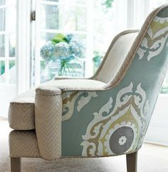 """Thibaut Fabric + great chair and vision = even better chair sure to get heads turning and """"Wows"""" all around"""