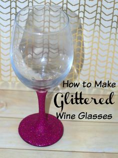 Glittered wine glasses are all over!  Learn how to make your own glitter wine glasses, quick and easily.