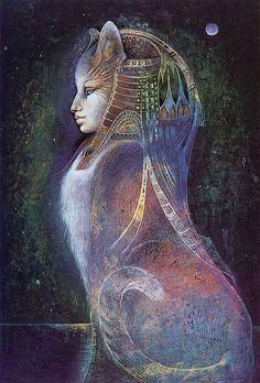 Bastet by Susan Seddon Boulet - Bastet, déesse de la musique, de la joie du foyer, des chats et de la maternité