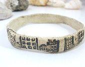 Ceramic bangle OOAK and stylish buildings stone look ceramic bracelet  Ceramic Cuff Fashion jewelry Ceramic jewelry Bracelet elitett