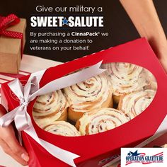 """Help us say """"thank you"""" to all who serve. When you buy a CinnaPack this season, we'll make a donation on your behalf to Operation Gratitude."""