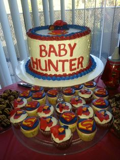 Superman Themed Baby Shower Cake & Cupcakes