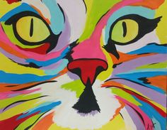 Hey, I found this really awesome Etsy listing at https://www.etsy.com/listing/238803439/abstract-cat-face-a-16x20