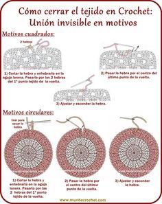 Como cerrar el tejido y esconder la hebra en crochet o ganchillo Crochet Cord, Crochet Video, Crochet Diagram, Crochet Basics, Crochet Motif, Crochet Symbols, Crochet Stitches Patterns, Crochet Designs, Crochet Flower Tutorial