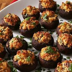 Add some vegetables to your party appetizer spread with this savory stuffed mushroom recipe.