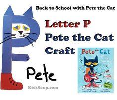 Letter P Pete the Cat Craft | KidsSoup