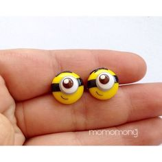 Super Cute Minion Face Earrings ($7) ❤ liked on Polyvore featuring jewelry, earrings, silver tone earrings, metal earrings and metal jewelry