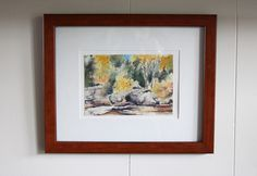 watercolour of northwestern Ontario in wood frame hung on white wall Small Tables, Hanging Art, Home Look, White Walls, Ontario, Watercolour, Interior Design, Create, Wood
