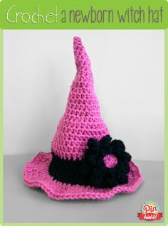 Woohoo I passed the PinTriedIt test!! You HAVE to check this out!  Crocheted Halloween Witch Hat (Newborn)