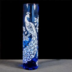 Peacock Wedding Bud Vase, Blue Etched Glass, a great gift for mom for Mother's Day. Glass Etching, Etched Glass, Engagement Presents, Wedding Champagne Flutes, Peacock Decor, Peacock Wedding, Great Gifts For Mom, Crystal Vase, Engraved Gifts
