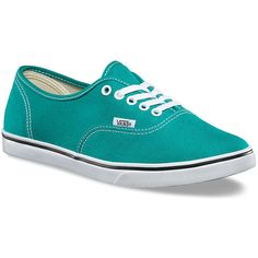 Vans Women's Authentic Lo Pro Teal Blue True White - 7 M Women's Shoes (870 CZK) ❤ liked on Polyvore featuring shoes, sneakers, white, vans sneakers, white trainers, teal blue shoes, white shoes and low profile shoes