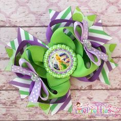 Tinker Bell Stacked Boutique Hair Bow by PixiePretties on Etsy, $10.99