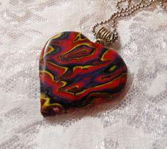 Beautiful Mokume Gane Polymer Clay Heart Focal Bead Pendant Necklace - DeCicco by FabulousDesign on Etsy