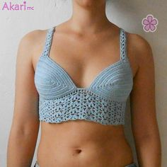 Lacy crochet bralette / crop top PDF by AkariCrochetPatterns