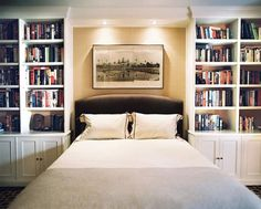 Bookcase Bed design ideas and photos to inspire your next home decor project or remodel. Check out Bookcase Bed photo galleries full of ideas for your home, apartment or office. Library Bedroom, Bedroom Built Ins, Bookshelves In Bedroom, Bookshelves Built In, Home Bedroom, Master Bedroom, Bedroom Decor, Bookcases, Book Shelves