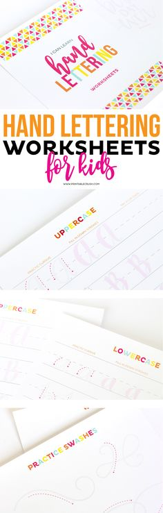 Teach Your Kids Hand Lettering with these Hand lettering Worksheets for kids! This is great for teaching your kids how to write in cursive, too! Learn how to write every letter of the alphabet, swashes, and fun phrases!