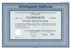Stuttgarter Hofbräu AG Aktie 50 DM Juni 1976 (nullgeziffertes Muster, R 10).