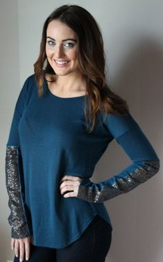 Bronzed Sequin Sleeve Top, Teal – Sisterly Chic Boutique