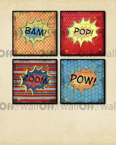 For the little guy's bedroom.  Four Superhero Comic Fine Art Prints 8 x 8  by OffTheWallbyLeah, $42.00