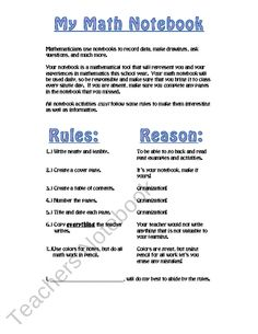Interactive Math Notebook Guidelines from Kates Middle School Math on TeachersNotebook.com (1 page)
