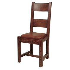 "Hawthorne Dining Chair 	  Hawthorne Dining Chair  Top Grain  18"" W x 18"" D x 41"" H  Finish/Color(s): Cigar/Bourbon Oak"