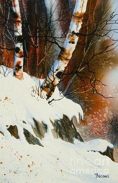 Snowfall Painting - November Snow by Teresa Ascone Winter Watercolor, Watercolor Trees, Painting Snow, Painting, Winter Painting, Art, Watercolor Landscape, Winter Art, Watercolour Inspiration