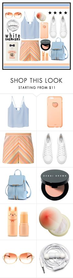 """""""White Sneakers: Peach & Blue"""" by cara-mia-mon-cher ❤ liked on Polyvore featuring MANGO, Valentino, Bobbi Brown Cosmetics, Tony Moly, Oliver Peoples, Urbanears and Kate Spade"""