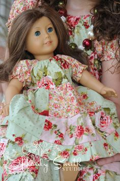 Patchwork Floral American Girl Doll Dress, Bitty Baby, or Bitty Twin