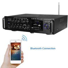 e5689deb56f Wireless Digital Audio Amplifier Bluetooth Stereo Karaoke Amplifier 2 MIC  Input FM RC Home Theater Amplifier - Elektronic Shack