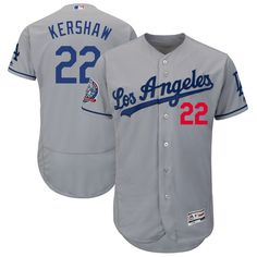 48143733e Clayton Kershaw Los Angeles Dodgers Majestic 60th Anniversary Road On-Field  Patch Flex Base Player Jersey – Gray