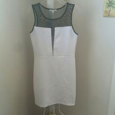 Mesh top body Com dress Worn once. White body with black mesh top. No stains, rips, tears, or piling. Great condition. Plenty of stretch for a form fitting dress. 32 inches long. Charlotte Russe Dresses Mini