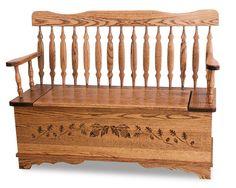 Amish Royal Arrow Acorn Storage Bench