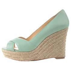 vince camuto wedges - LOVE the color Platform Wedges Shoes, H&m Shoes, Shoes Heels Wedges, Leather Wedge Sandals, Me Too Shoes, Shoe Boots, Wedge Shoes, Pastel Outfit, Mint Wedges