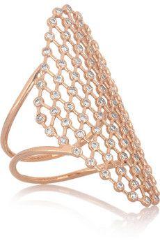 Diane Kordas - Mesh 18-karat rose gold diamond ring