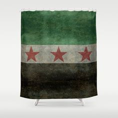 """The """"independence flag"""" of Syria vintage version - (may PEACE prevail) Shower Curtain by LonestarDesigns2020 - Flags Designs + - $68.00"""