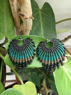Peacock Feather Macrame Earrings Green Macrame Earrings