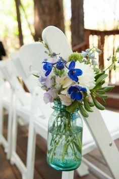 blue wedding flowers ceremony decor