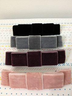 Set of 2 Velvet Barrette / Purple Grey Soft by midnightshades Purple Grey, Barrette, Ribbons, Hair Pins, Korean Fashion, Girly, Velvet, Bows, My Style