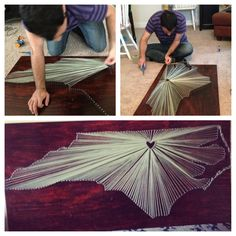 One of my favorite DIY projects! String art of North Carolina. String art State art North Carolina
