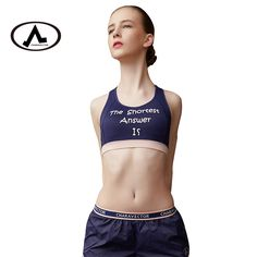 b94c79a29098 US $17.99 |Aliexpress.com : Buy Professional Women Letter Printed Seamless  Sport Bra Top Fitness Yoga Bras Push Up Underwear Running Padded Gym Tops  from ...