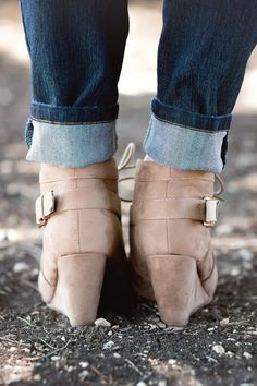 Fall Fashion, Fall Booties, Fall Wedges, Wedge Booties, Vegan Suede Booties, Buckle Booties- Buckle Up Booties-Taupe by Jane Divine Boutique www.janedivine.com