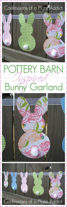 Pottery Barn Inspired Bunny Garland -- It's so easy and fun and could even be used at a baby shower or child's birthday party as well! And it's my kind of project. Easter Birthday Party, Bunny Birthday, 2nd Birthday Parties, Easter Crafts, Holiday Crafts, Easter Ideas, Easter Decor, Bunny Party, Pottery Barn Inspired