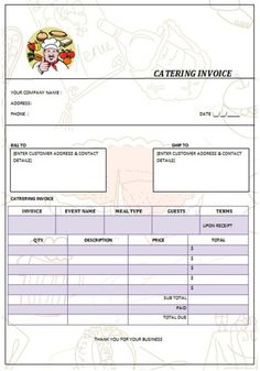 Catering Invoice Template Excel Simple Catering Invoice 16  Lady Bakes  Pinterest  Catering