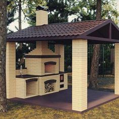 58 outdoor kitchen designs that look neat and comfortable for outdoor cooking 29 - kinal. Rustic Outdoor Kitchens, Outdoor Kitchen Patio, Outdoor Kitchen Design, Backyard Patio, Backyard Landscaping, Outdoor Living, Outdoor Decor, Outdoor Oven, Pergola Patio