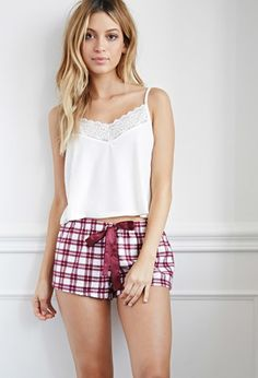 Plaid Flannel PJ Shorts | Forever 21 - 2000172822
