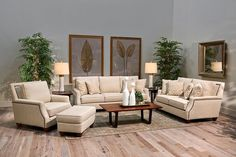 Welcome your guests into your clean and crisp living room with our Kurtz Linen living room set! This top quality set is Made in America right here in Texas! The beautiful cream colored fabric will brighten and freshen up any room! | Houston TX | Gallery Furniture |