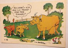 Vintage Petley Laff Card Postcard 1952 Cows For Dinner Unposted Funny Cows, Moose Art, Dinner, Comics, Cards, Animals, Ebay, Collection, Vintage