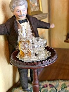 Antique Miniature Dollhouse 30s Cut Crystal Hosting Set Decanter Glasses FRENCH